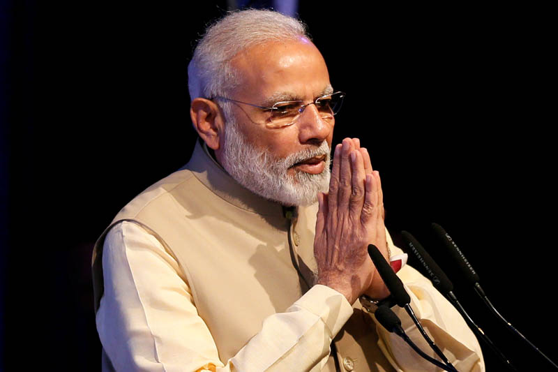 Indiau2019s Prime Minister Narendra Modi gestures during the United Nations Vesak Day Conference in Colombo, Sri Lanka May 12, 2017. Photo: Reuters