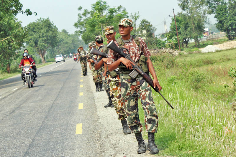 Nepali Army being mobilised to strengthen security for the upcoming local polls on May 14 in Susta of Nawalparasi district, on Thursday, May 11, 2017. Photo: RSS
