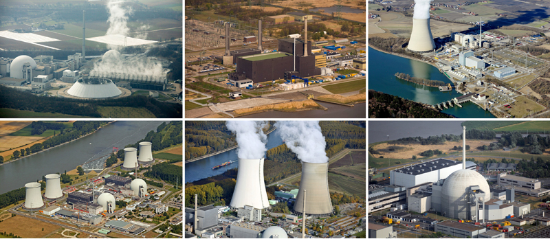FILE-A combination of file pictures shows aerial views of the German nuclear power plants (top L to Bottom R) of Neckarwestheim, Brunsbuettel, Isar, Biblis A and B, Philippsburg and Unterweser. Photo: Reuters