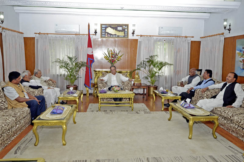 PM holds a meeting with Rastriya Janata Party Nepal leaders at PM's official residence in Baluwatar, on Monday, May 15, 2017. Courtesy: PM's Secretariat