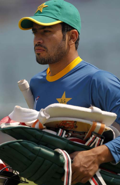 FILE - Pakistan's Mohammad Nawaz walks for a training session prior to their match against Bangladesh of the ICC World Twenty20 2016 cricket tournament in Kolkata, India, on Tuesday, March 15, 2016. Photo: AP