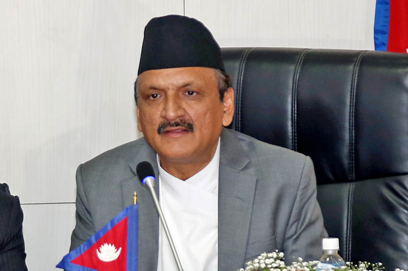 Minister for Foreign Affairs Prakash Sharan Mahat speaks during MoU signing on OBOR at the Ministry in Singha Durbar, Kathmandu, on Friday, May 12, 2017. Photo: RSS