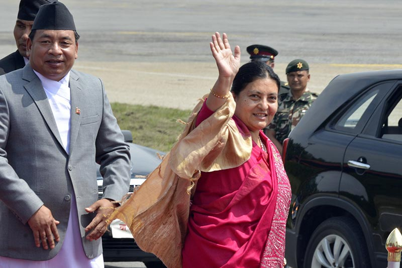 President Bidya Devi Bhandari waves as she leaves for Sri Lanka at the Tribhuvan International Airport, in Kathmandu, on Friday, May 12, 2017. Photo: RSS