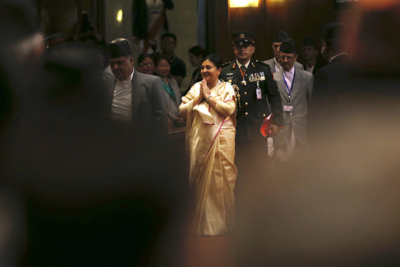 President Bidhya Devi Bhandari leaving the Parliament after unveiling the governmentu2019s policy and programmes for the fiscal 2017-18, in Kathmandu, on Thursday, May 25, 2017. Photo:Skanda Gautam/THT