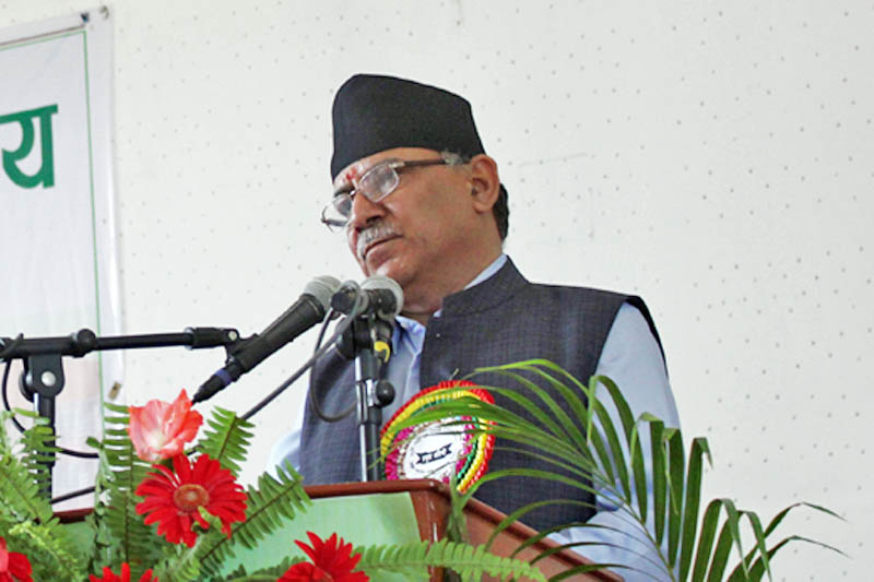 PM Pushpa Kamal Dahal speaks at a programme in Chitwan, on Friday, May 19, 2017. Photo: Tilak Ram Rimal