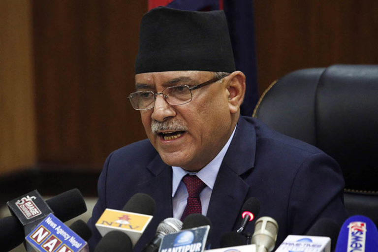 Prime minister Pushpa Kamal Dahal announces his resignation, in line with an agreement made with his coalition partner party, in Kathmandu, Nepal, on Wednesday, May 24, 2017. Photo: AP