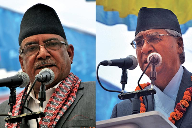 PM and CPN-MC Chair Pushpa Kamal Dahal and NC President Sher Bahadur Deuba addressing a joint gathering of the two parties, in Bharatpur, on Thursday, May 11, 2017. Photo: RSS