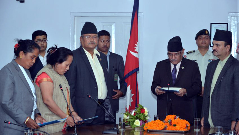 Prime Minister Pushpa Kamal Dahal administers the oath of office and secrecy to newly appointed State Minister at the OPMCM. Photo: PM's Secretariat