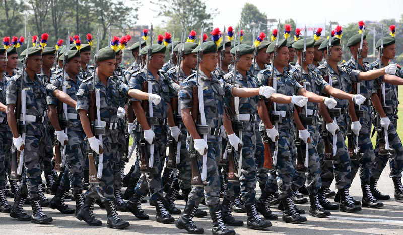 Armed Police Force personnel participate in a march-past during a special function organised to mark the 10th Republic Day at the Army Pavilion, Tundikhel,  in Kathmandu, on Monday, May 29, 2017. Photo: Rajesh Gurung