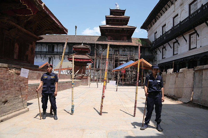 Temporary police guarding a polling centre in Basantapur Durbar Square, on Saturday, May 13, 2017.