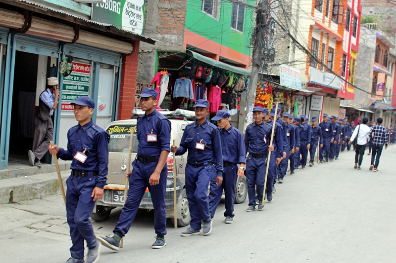 Temporary police personnel patrol Beni Bazaar of Myagdi district, on Monday, May 8, 2017. Photo: RSS