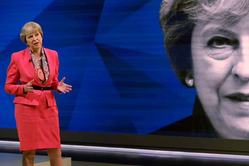 Prime Minister Theresa May answers questions from the studio audience during a joint Channel 4 and Sky News general election programme recorded at Sky studios in Osterley, west London, on May 29, 2017. Photo: Reuters