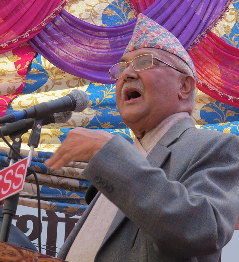 UML Chair KP Sharma Oli addressing his party cadres in Narayangadh, Bharatpur, Chitwan, on Thursday. Photo: THT