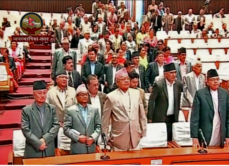 A still image of  CPN-UML Lawmakers standing from their seats to obstruct the House proceedings on May 31, 2017. Photo: Parliament via Youtube