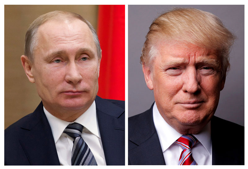 A combination of file photos showing Russian President Vladimir Putin at the Novo-Ogaryovo state residence outside Moscow, Russia, on January 15, 2016 and US President Donald Trump posing for a photo in New York City, US, on May 17, 2016. Photo: Reuters