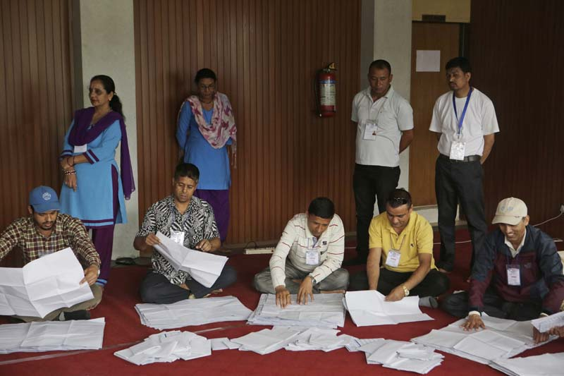 Nepali election commission officers count the votes of local elections in Kathmandu, Nepal, Monday, May 16, 2017. Photo: AP