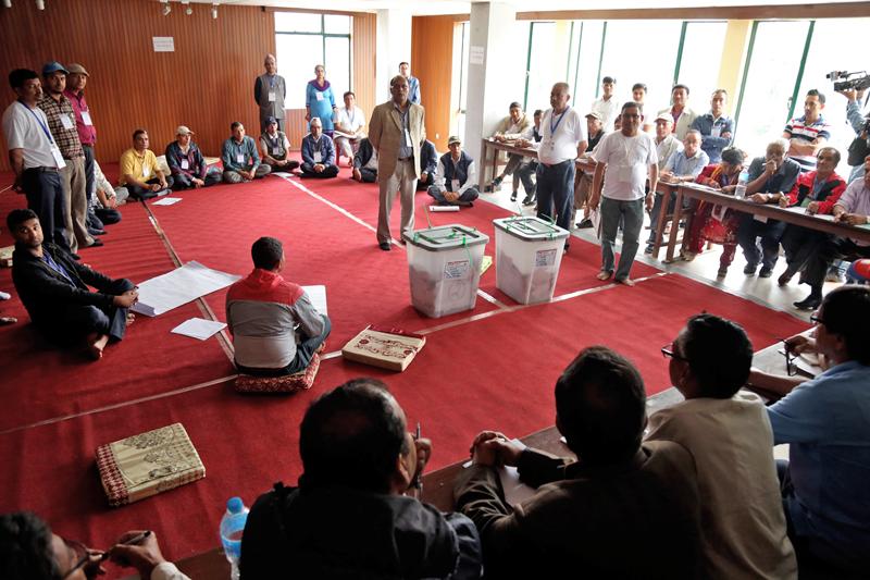 Kathmandu Metropolitan City vote count is set to begin at the Nepal Academy in Kathmandu, on Sunday, on May, 2017. Photo: RSS