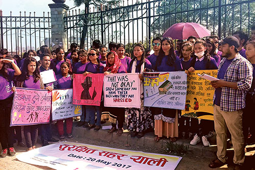 Women rights activists holding placards participate in a rally, in Kathmandu, on Saturday, May 20, 2017. Photo: RSS