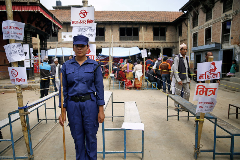 A temporary police guards a polling station during the local elections in Lalitpur, on Sunday, May 14, 2017. Photo: Skanda Gautam