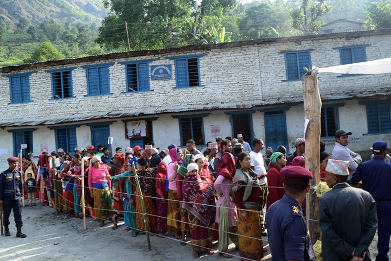 Voters lineup to cast their votes at Gyanodaya Secondary School of Raghu Ganga Rural Municipality-3 in Myagdi, on Sunday, May 14, 2017. Photo: RSS