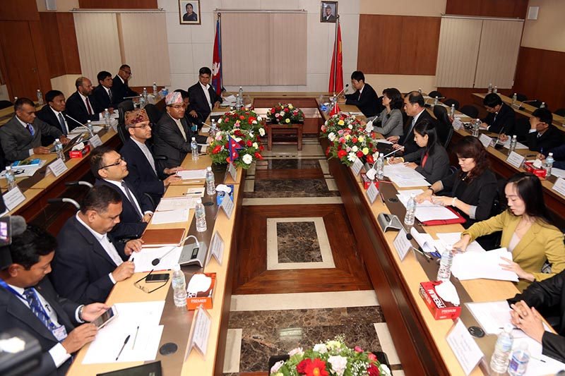 The 11th meeting of Joint Consultation Mechanism between Nepal and China at the Ministry of Foreign Affairs at Singhadurbar on June 20, 2017. Photo: RSS