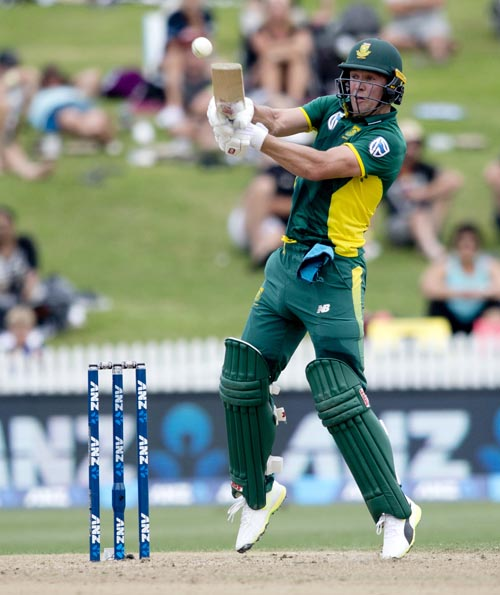 South Africa's AB de Villiers bats during their one day cricket international against New Zealand at Seddon Park in Hamilton, New Zealand, on Wednesday, March, 1, 2017.  Photo: Alan Gibson/NZ Herald via AP/ File