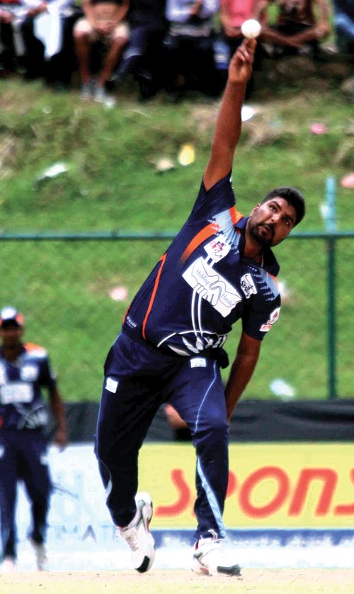 A player of Indian Stars bowls against Afghanistan Bulls during the Asian Club Premier League at the Tribhuvan University Stadium in Kathmandu, on Thursday. Photo: THT