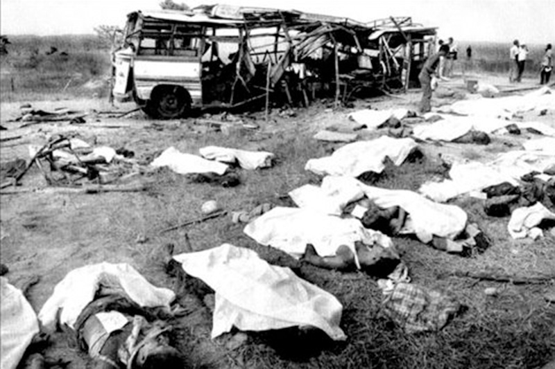 File - Victims of the Badarmudhe incident in which 38 bus passengers were killed in a bomb explosion triggered by CPN-Maoist rebels 12 years ago, in Madi, Chitwan, on 6 June 2005. Photo: THT