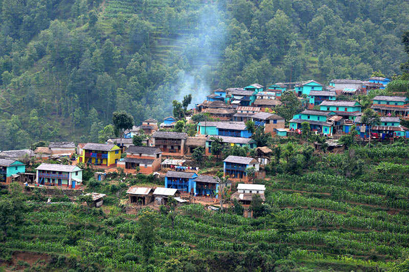 A view of Paiyuthanthap village in Jaimani Municipality-9 in Baglung district, as captured on Wednesday, June 14, 2017. Photo: RSS