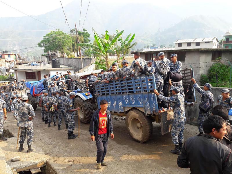 Armed Police Force personnel mobilised in the view of second phase of local level elelctions, in Bajura district, on Wednesday, June 14, 2017. Photo: THT