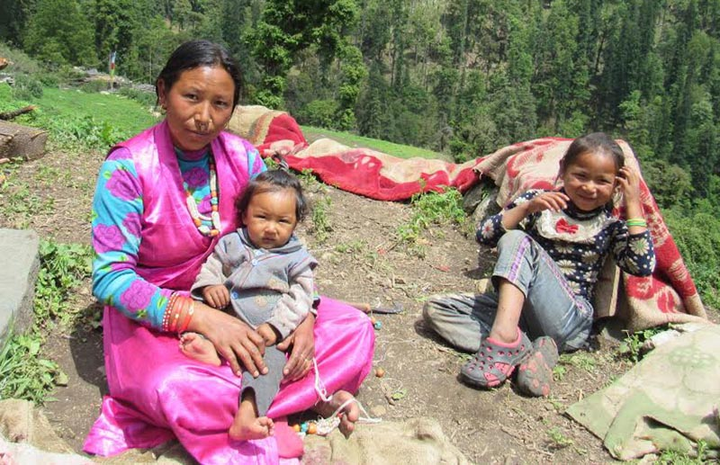 A woman with her grandchildren, who have not been vaccinated, in Himali Rural Municipality, Bajura, on Wednesday, May 31, 2017. Photo: THT