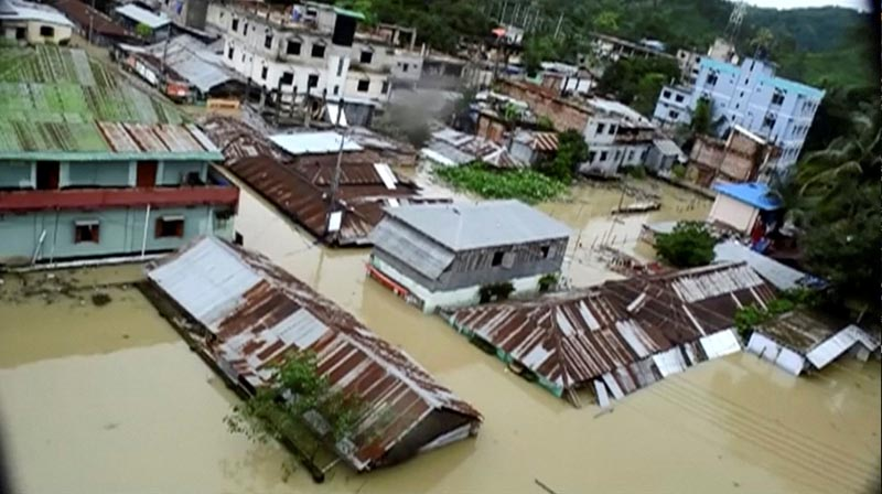 An aerial view showing the town half-submerged in floodwaters following landslides triggered by heavy rain in Khagrachari, Bangladesh, in this still frame taken from video, on June 13, 2017. Photo: Reuters