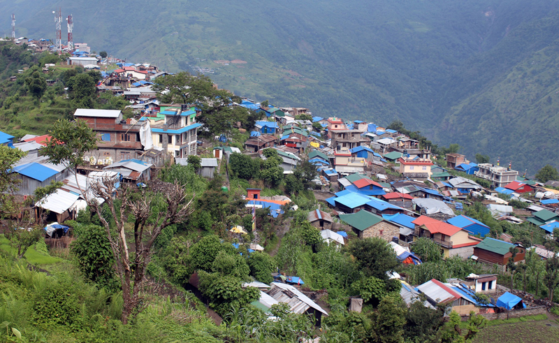 A view of Barpak village in Sulikot Rural Municipality of Gorkha, on Thursday, June 22, 2017. Photo: RSS