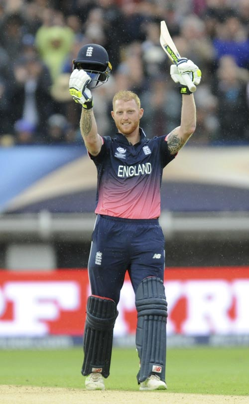 England's Ben Stokes celebrates a century during the ICC Champions Trophy match between England and Australia at Edgbaston in Birmingham, England, on Saturday, June 10, 2017. Photo: AP