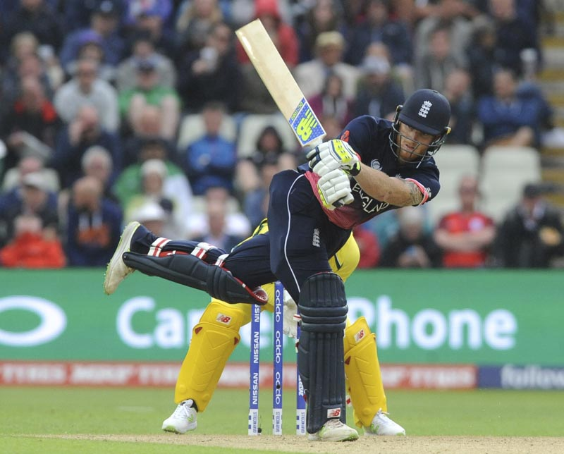 England's Ben Stokes plays a shot during the ICC Champions Trophy match between England and Australia at Edgbaston in Birmingham, England, on Saturday, June 10, 2017. Photo: AP