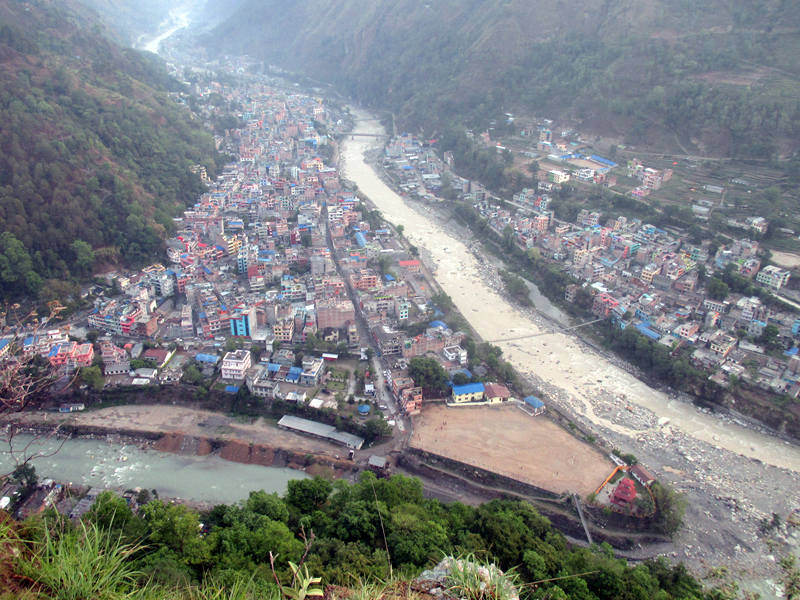 A view of Beni Bazaar, as captured from the Lovely Hill of Khabara in Myagdi district, on Thursday, June 15, 2017. Photo: RSS