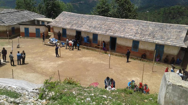 A view of Bhanbhane voting centre at Janata Primary School, where polling process was disrupted after an unidentified person poured acid on ballot papers, in Rolpa, on Wednesday, June 28, 2017. Photo: THT