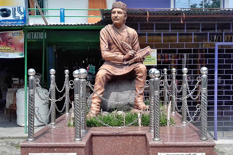 A statue of Adikabi (first poet) Bhabu Bhakta Acharya at Milanmode in Siliguri of West Bengal state, as captured on Friday, June 16, 2017. Photo: RSS