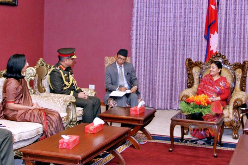 Bangladesh Army Chief Abu Belal Muhammad Shafiul Haq calls on President Bidya Devi Bhandari at latter's office in Sheetal Niwas, Kathmandu, on Wednesday, June 7, 2017. Courtesy: President's Office