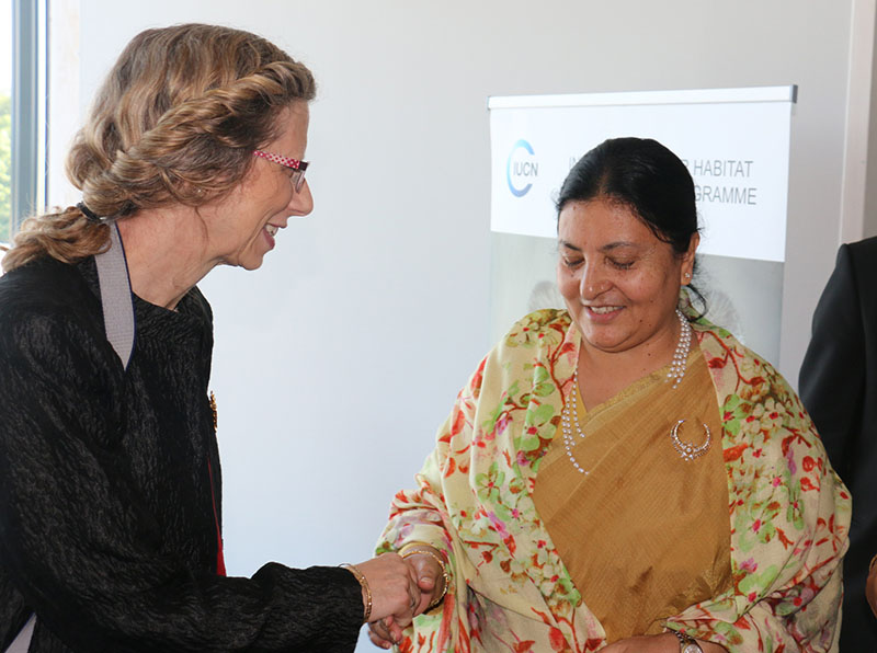 Director general of International Union for Conservation of Nature Inger Andersen (left) welcomes President Bidhya Devi Bhandari , at the organisationu2019s headquarters in Gland of Switzerland on June 17, 2017. Photo: RSS