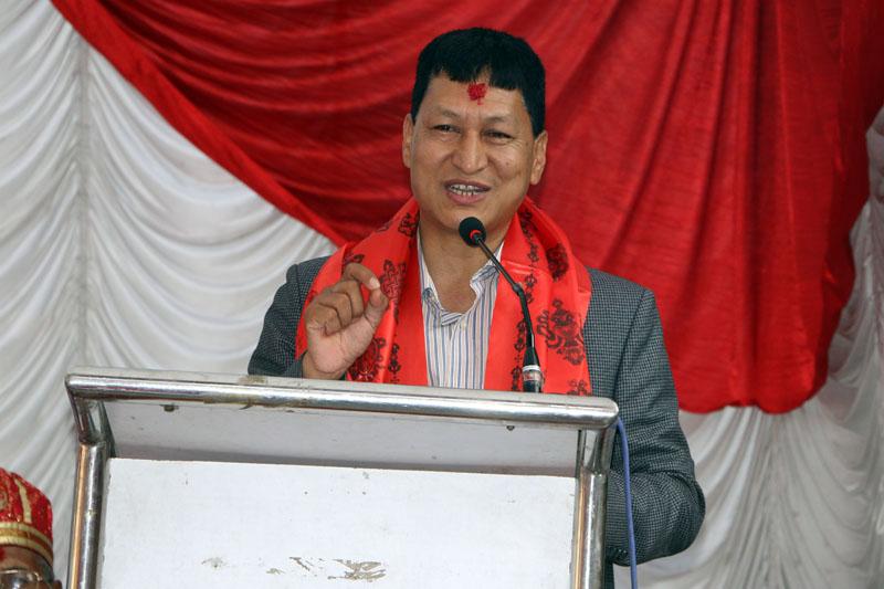 The Kathmandu Metropolitan City Mayor Bidya Sundar Shakya addresses a function on Sunday, June 19, 2017. Photo: RSS