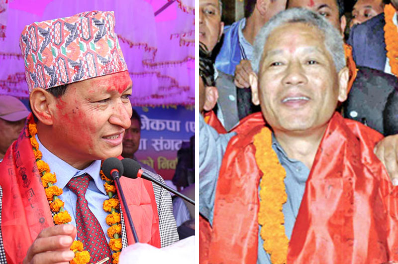 File - The Kathmandu Metropolitan City Mayor Bidya Sundar Shakya (left) and Non-Resident Nepali Association President Shesh Ghale. Photos: THT