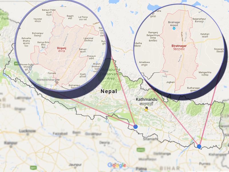 Map of Biratnagar and Birgunj.  Graphic: Monica Lohani