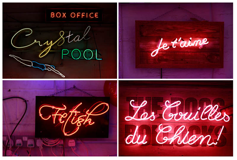 A combination picture showing some of the neon signs and lights in God's Own Junkyard gallery, cafe and workshop in London, Britain, May 13 , 2017. Photo: Reuters