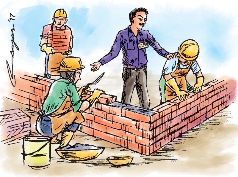 Building wall. Illustration: Ratna Sagar Shrestha/THT