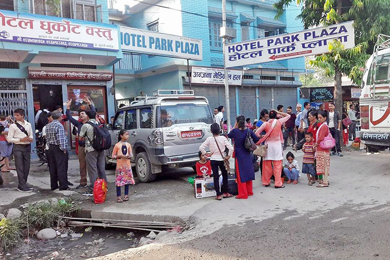 People heading to their villages to cast votes await vehicles at Butwal Sub-Metropolitan City, on Tuesday, June 27, 2017. Photo: RSS