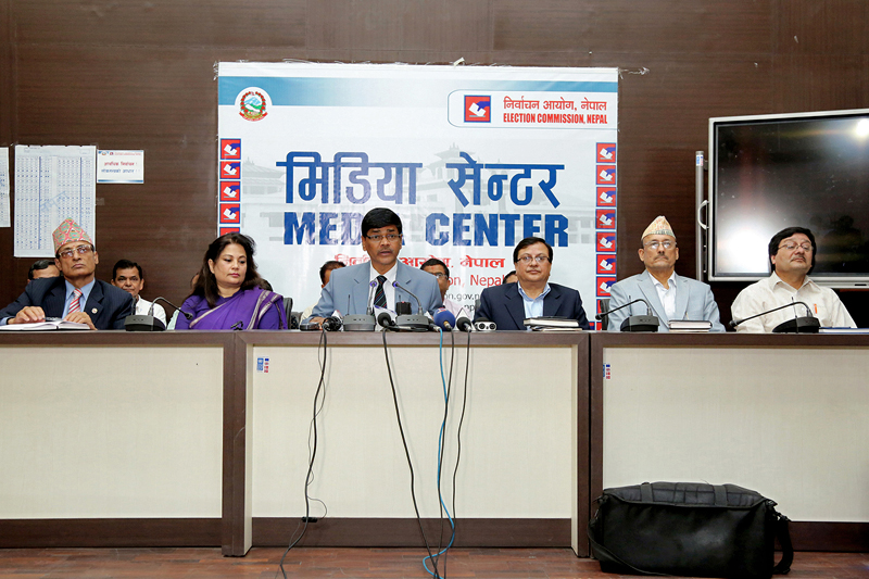 Chief Election Commissioner Ayodhee Prasad Yadav informs the journalists about preparations for second phase of local level elections in Kathmandu, on Saturday, June 17, 2017. Photo: RSS