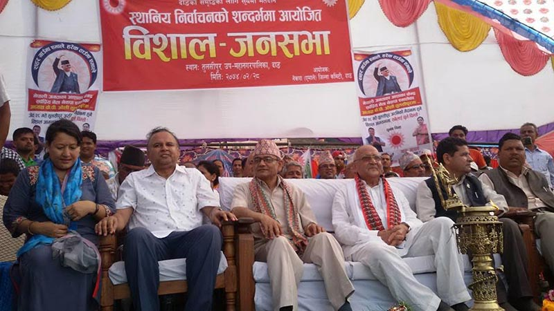 CPN-UML Chairman KP Sharma Oli attending an election publicity gathering organised in Tulsipur, Dang, on Sunday, June 11, 2017. Photo: THT
