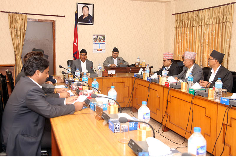 Newly elected Prime Minister Sher Bahadur Deuba attends the cabinet meeting at the Office of Prime Ministers and Council of Ministers in Singhadarbar, Kathmandu, on Wednesday, June 7, 2017. Photo: RSS