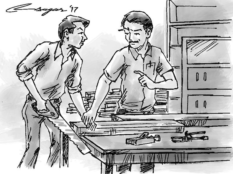 Carpentry lesson. Illustration: Ratna Sagar Shrestha
